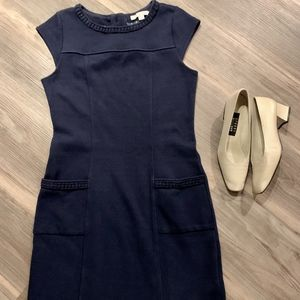 Boden Blue Ponte Knit Cap Sleeve Dress, Size US 8R